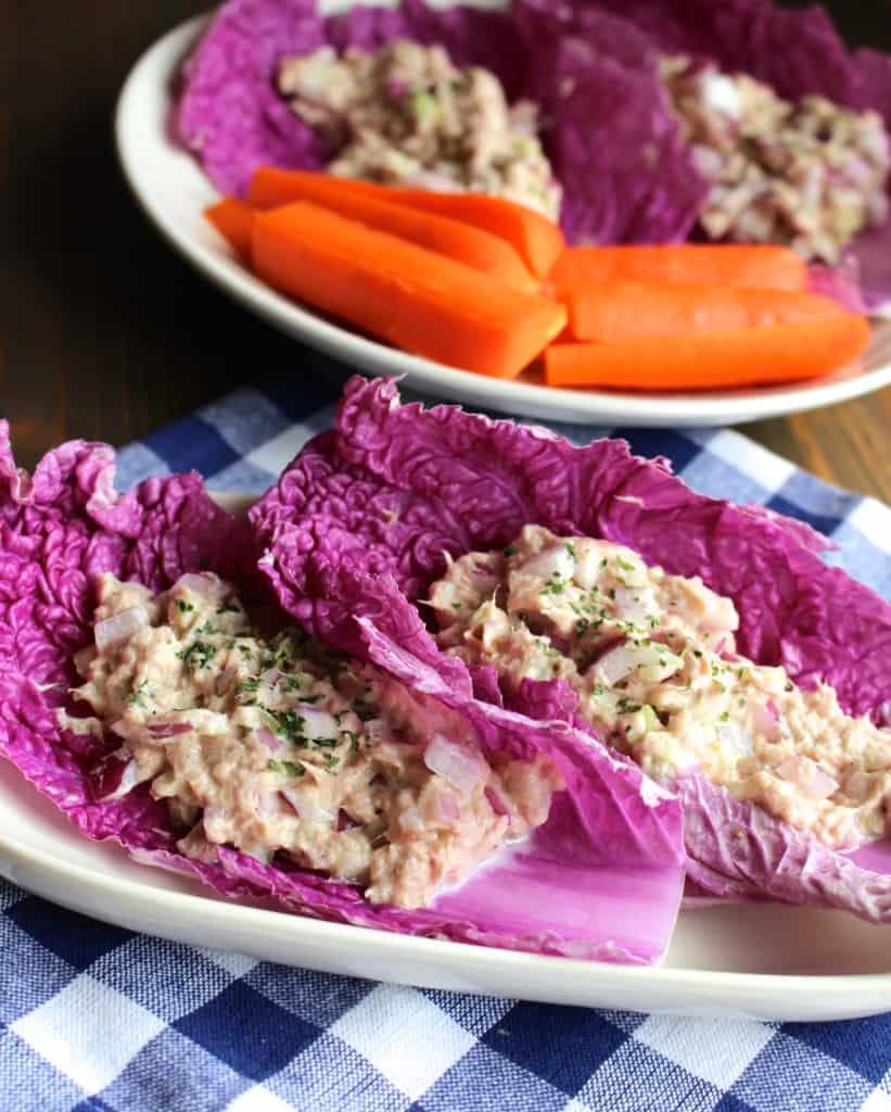 No mayo tuna salad cabbage wraps frugal nutrition for Tuna fish salad calories