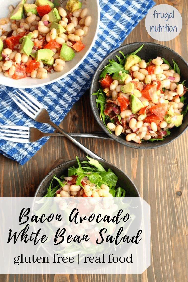 Bacon Avocado White Bean Salad By Frugal Nutrition #bacon