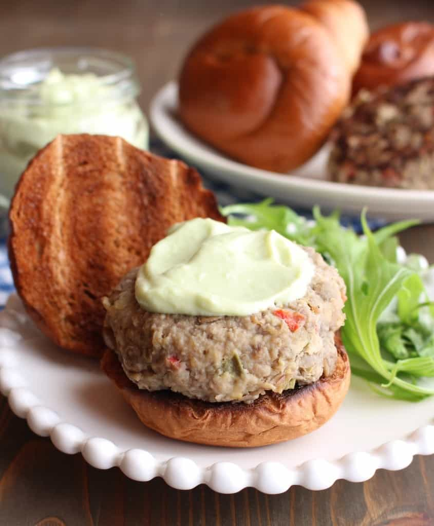 Lentil Turkey Burgers with Avocado Yogurt Sauce | Frugal Nutrition - you can cut back on price & on meat by adding lentils to your burgers! #goodandcheap #frugalnutrition