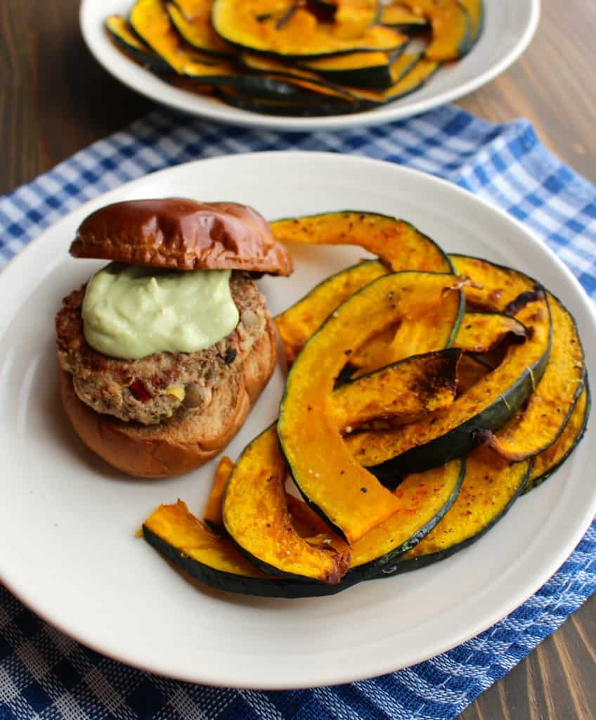 Lentil & Turkey Burgers with Roasted Kabocha Squash | Frugal Nutrition