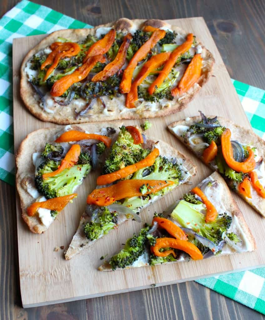 Roasted Vegetable Naan Pizza with Ricotta | Frugal Nutrition #pizza #naan #veggies