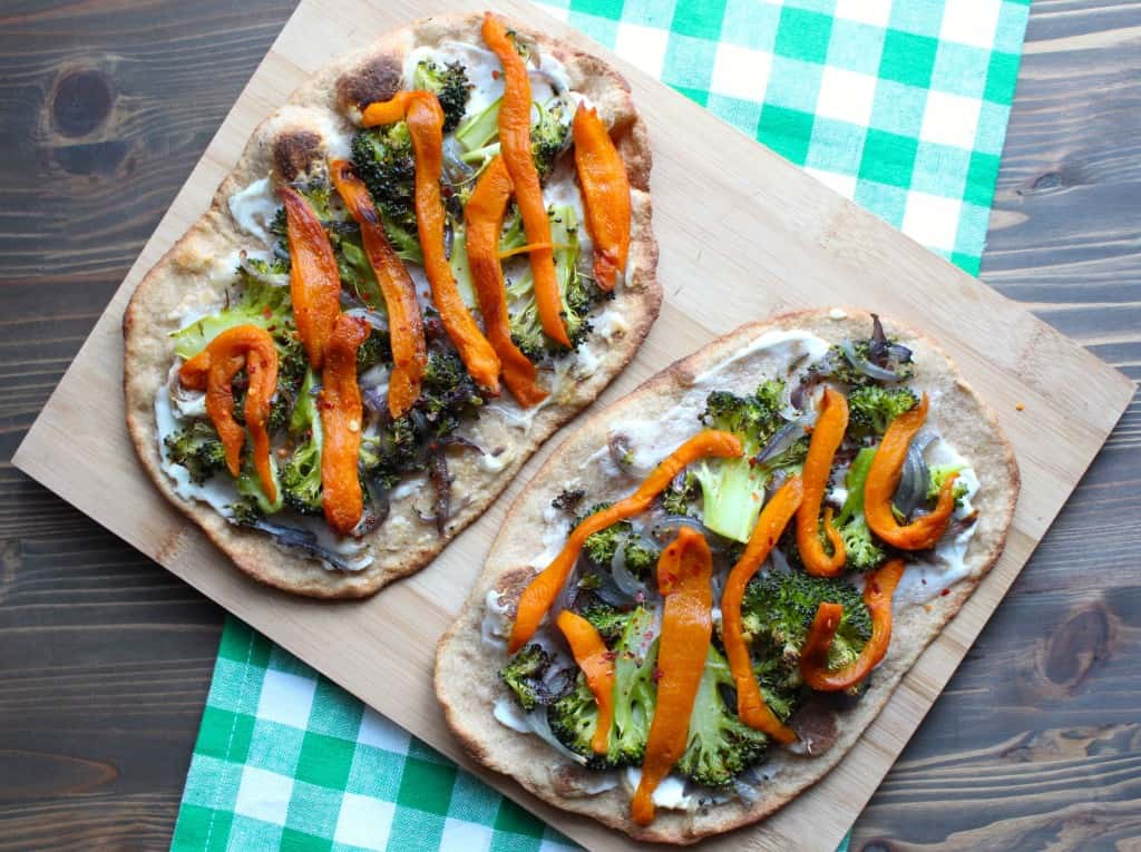 Roasted Vegetable Thin Crust Flatbread Pizza | Frugal Nutrition #broccoli #roastedbellpeppers #pizza