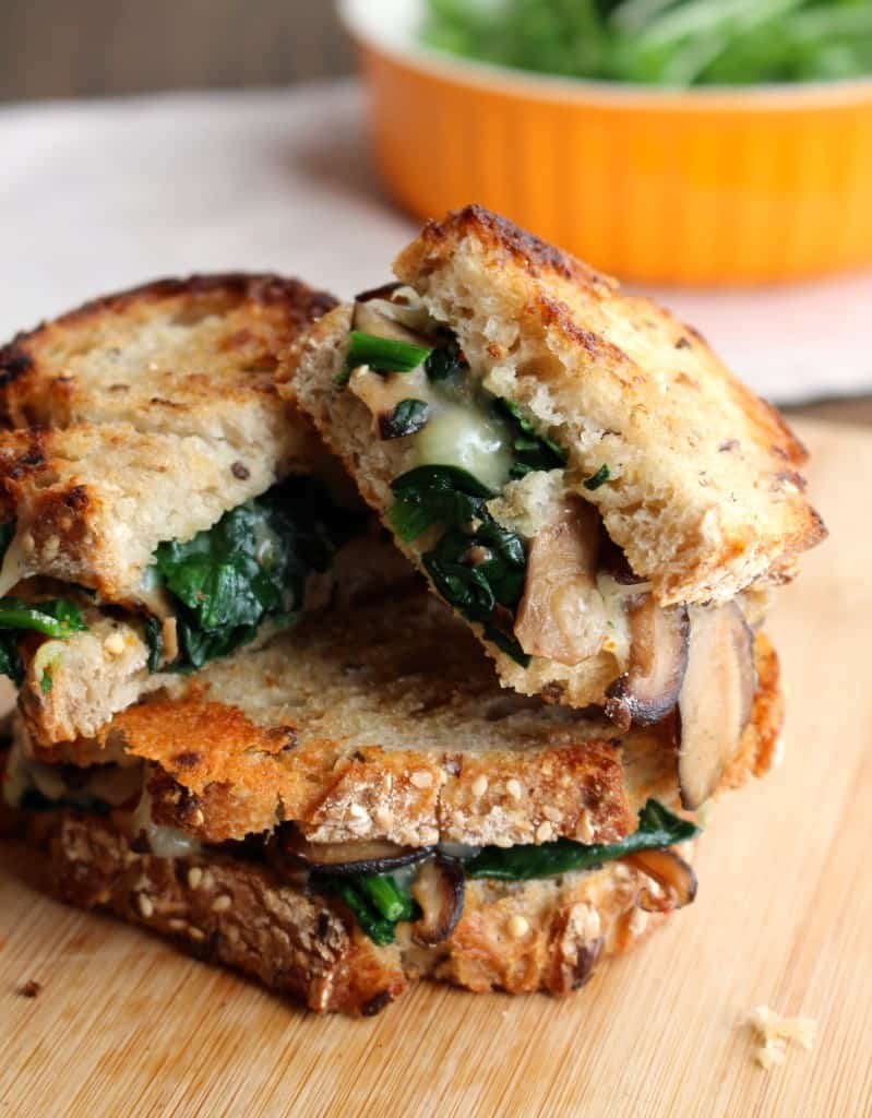 Mushroom Melt with Spinach and Mozzarella Cheese| Frugal Nutrition