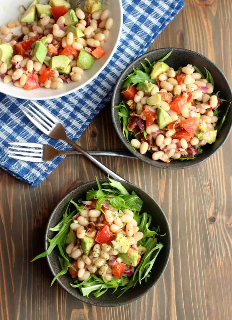 White Bean Avocado Salad with Bacon and Tomatoes | Frugal Nutrition