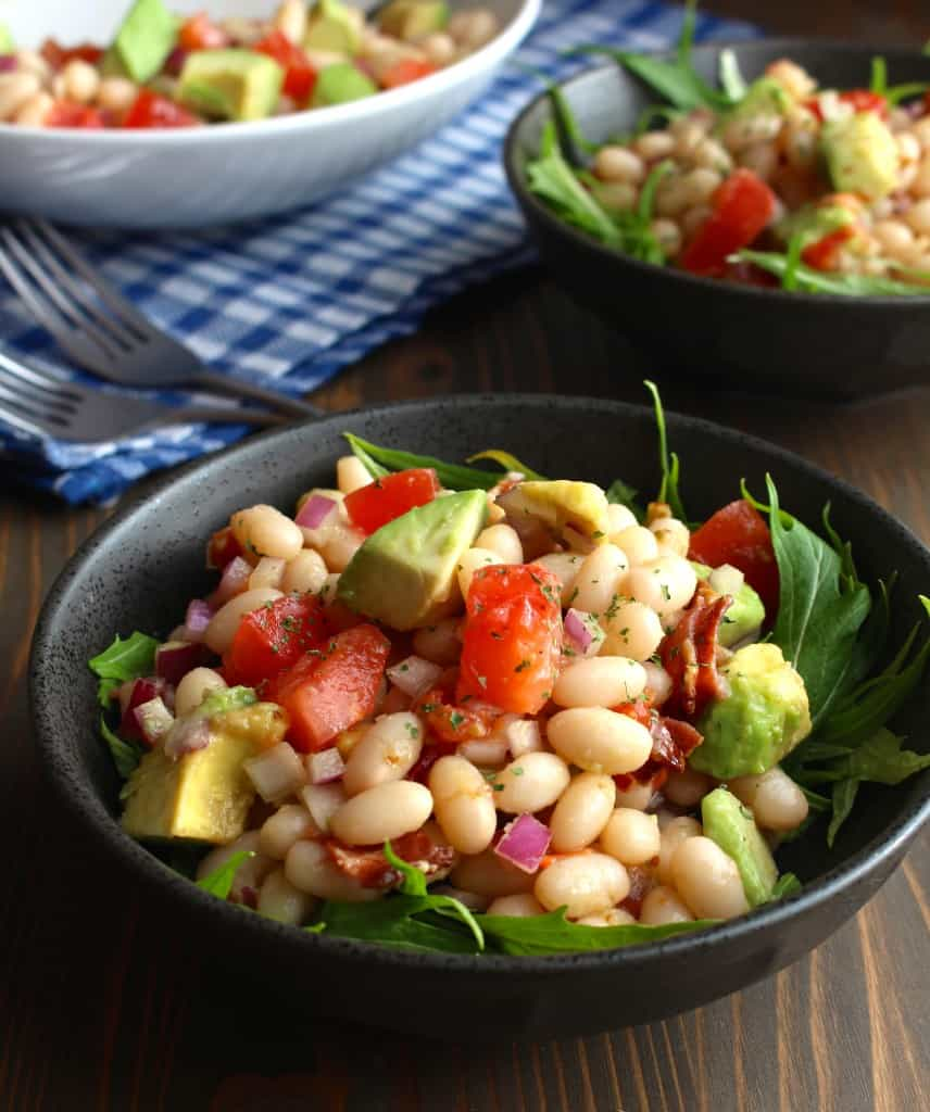 White Bean Avocado Salad with Bacon and Tomatoes by Frugal Nutrition