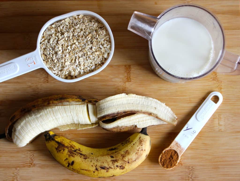 Easy Banana Oatmeal Ingredients - use rolled oats or instant oats | Frugal Nutrition