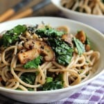 Kale & Soba with Garlic Butter Mushrooms