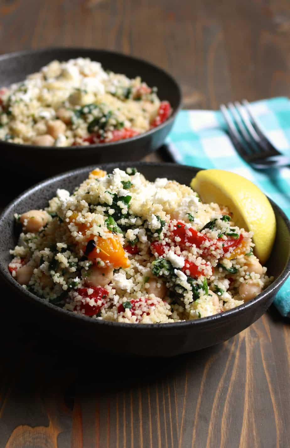 Lemon Feta Couscous (or Quinoa) With Spinach