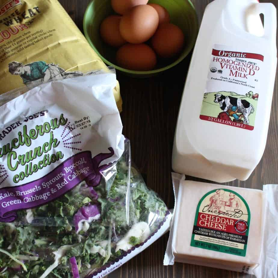 Kale and Cheddar Whole Wheat Crepes Ingredients