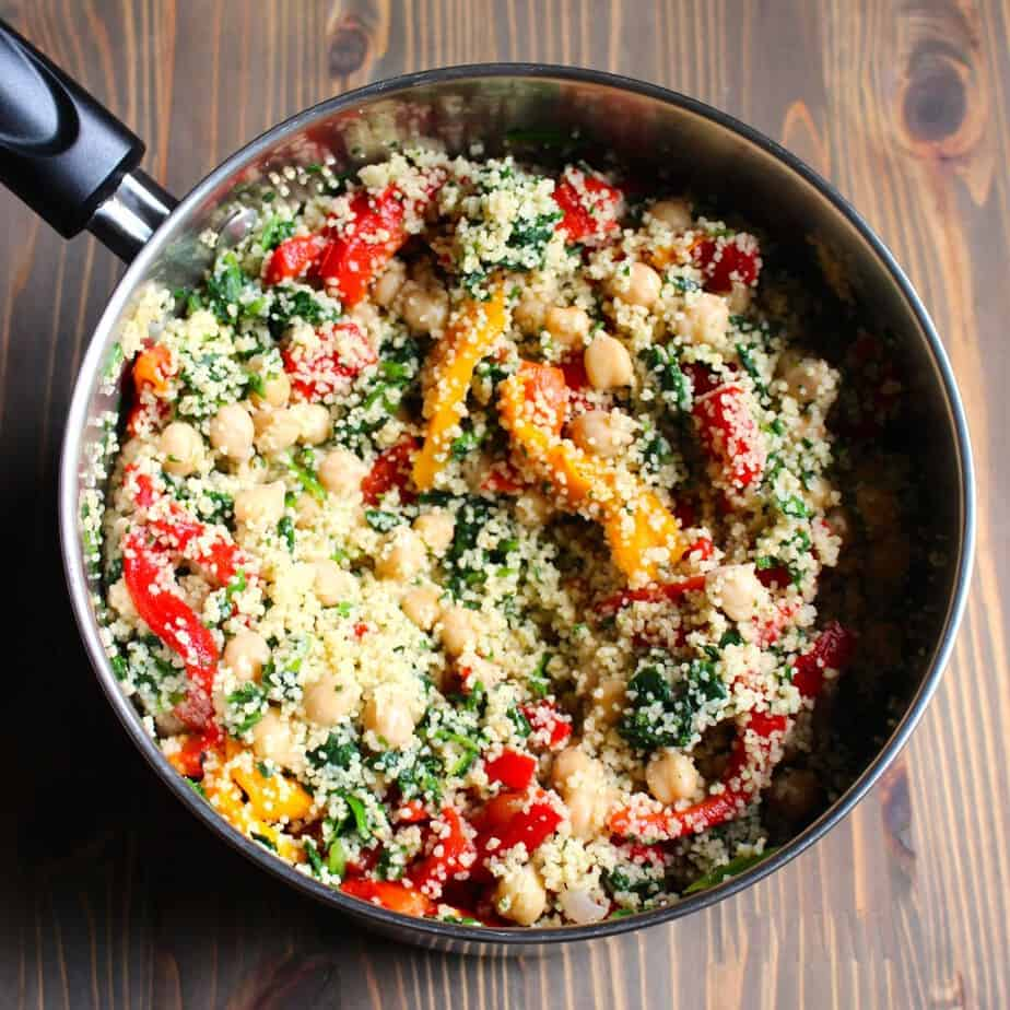 Pot of Couscous and Vegetables - Lemony Feta Couscous with Spinach and Red Peppers | Frugal Nutrition