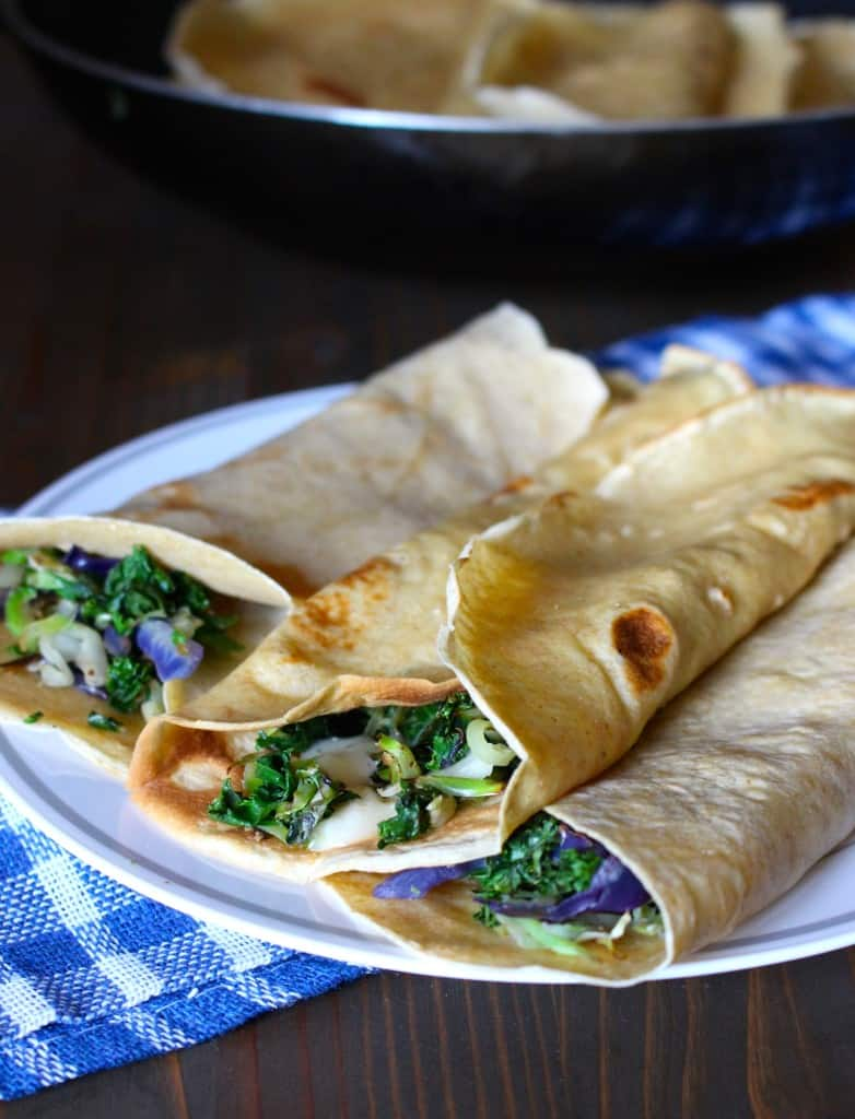 Whole Wheat Crepes with Kale & Cheddar   Frugal Nutrition #traderjoes #cruciferouscrunch