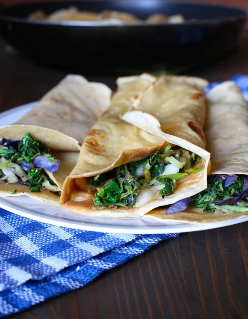Whole Wheat Crepes with Kale and Cheddar   Frugal Nutrition #traderjoes #weeknight
