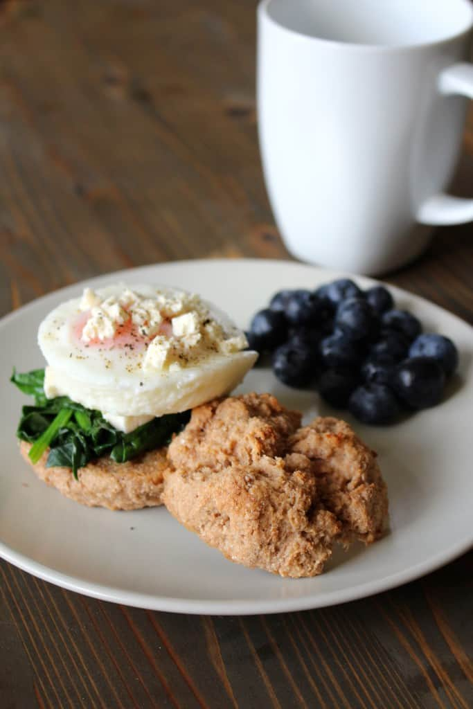 Whole Wheat Yogurt Biscuits with poached egg, spinach, feta, and blueberries | Frugal Nutrition