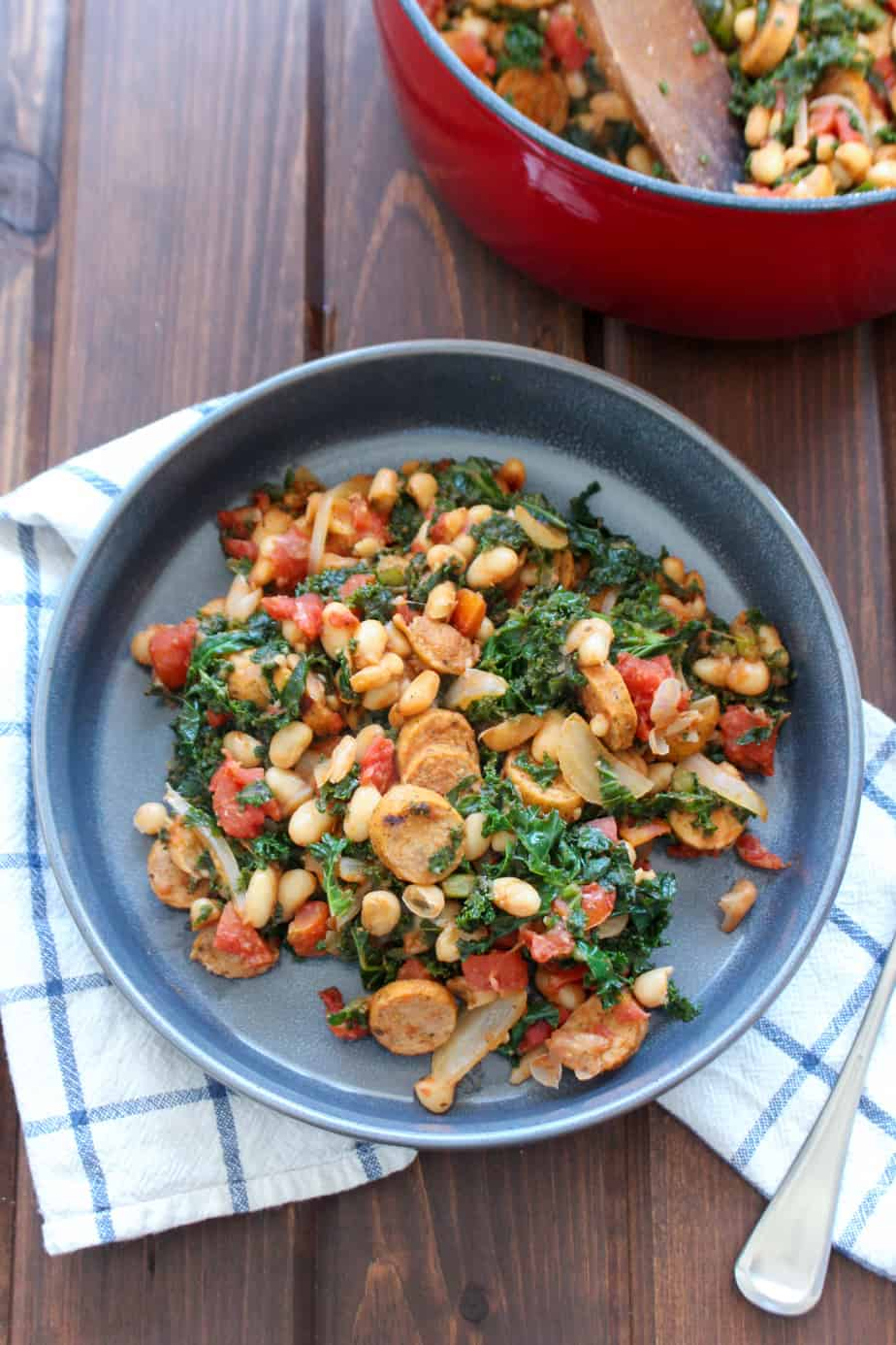 One Pot Sausage, White Beans, and Kale by Frugal Nutrition #easydinner