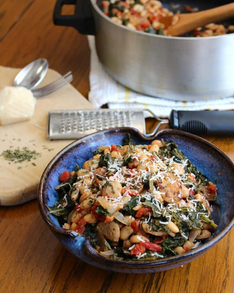 One Pot White Beans, Sausage, Kale, & Tomatoes | Frugal Nutrition