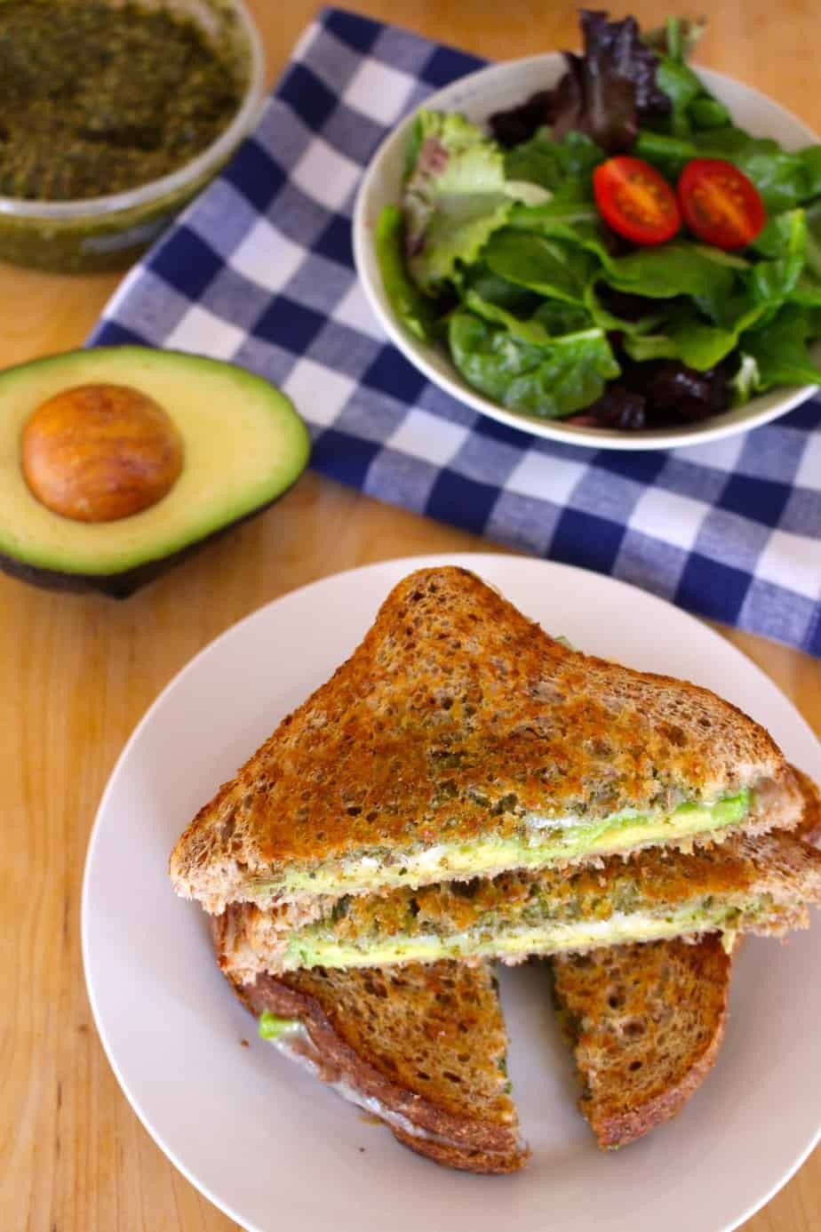Pesto, Provolone, & Avocado Grilled Cheese | Frugal Nutrition