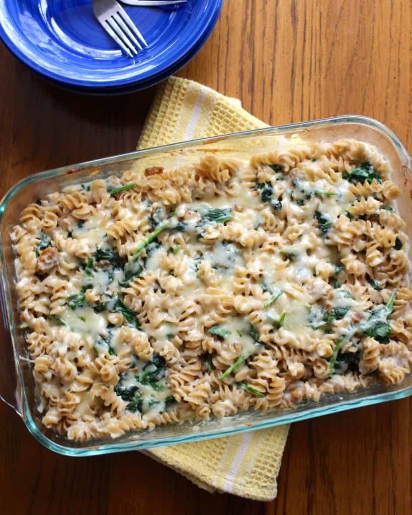 Sausage & Spinach Cheddar Casserole With Creamy Cauliflower Sauce | Frugal Nutrition