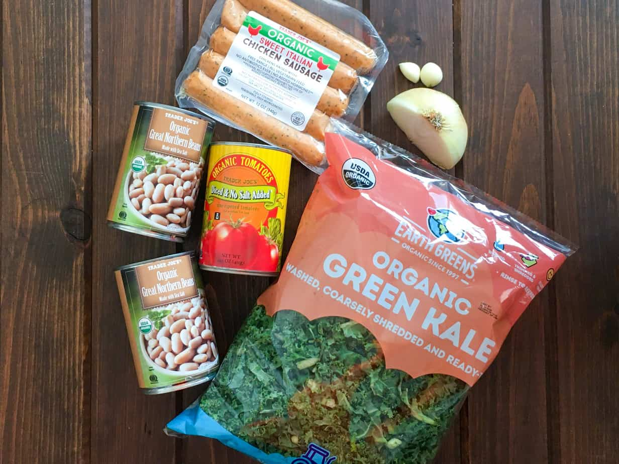 Trader Joe's Ingredients for One Pot Sausage White Beans and Kale | Frugal Nutrition