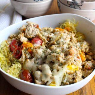 Turkey & Spaghetti Squash Margherita | Frugal Nutrition #easy #weeknight #dinner #paleo #spaghetti squash #pesto #glutenfree