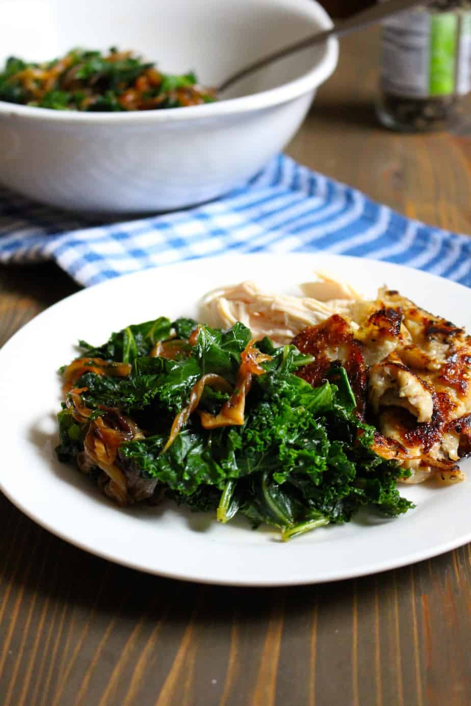 Caramelized Onions + Kale with Rotisserie Chicken | Frugal Nutrition