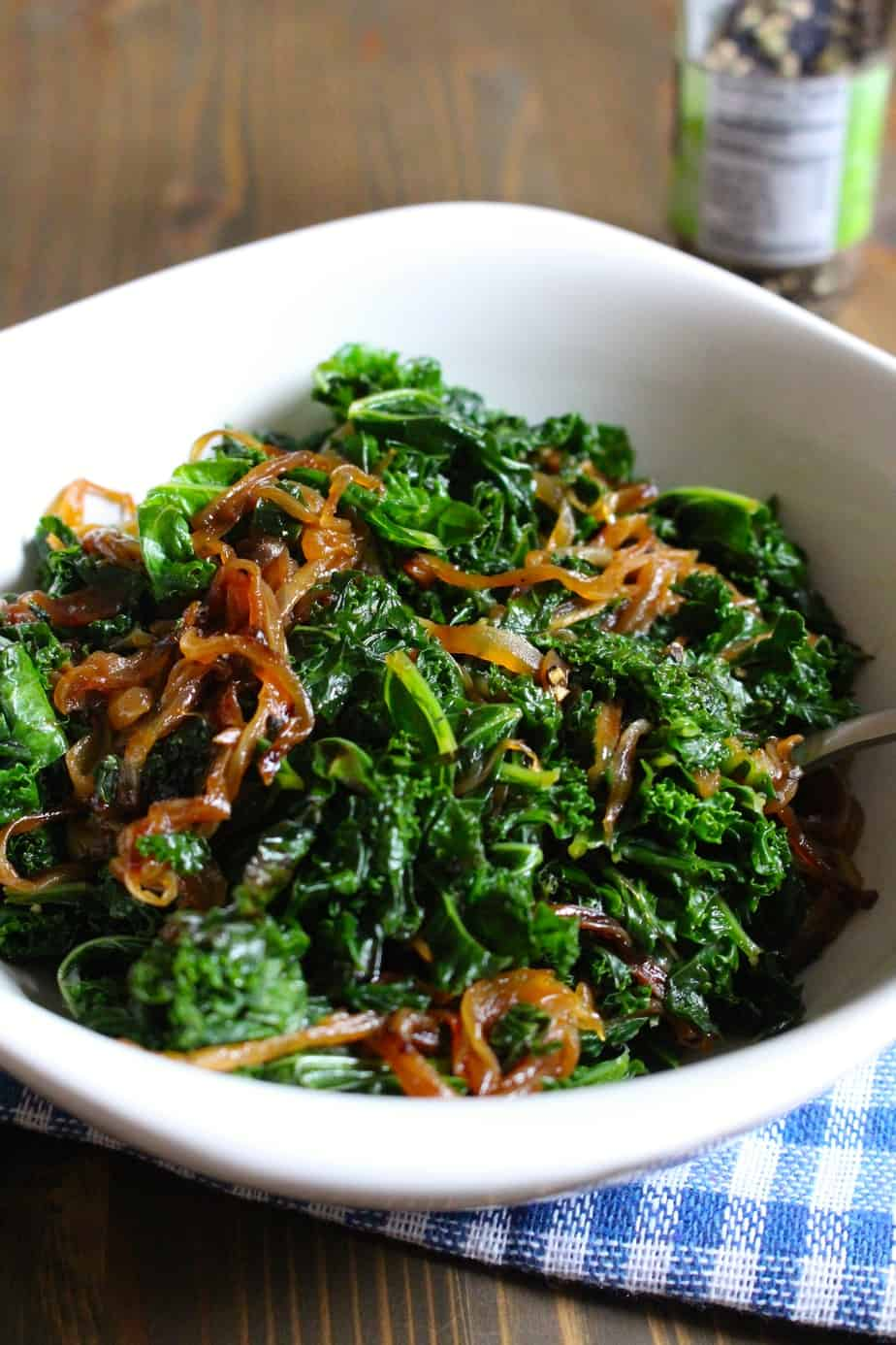 Caramelized Onions and Kale | Frugal Nutrition #vegetablesides