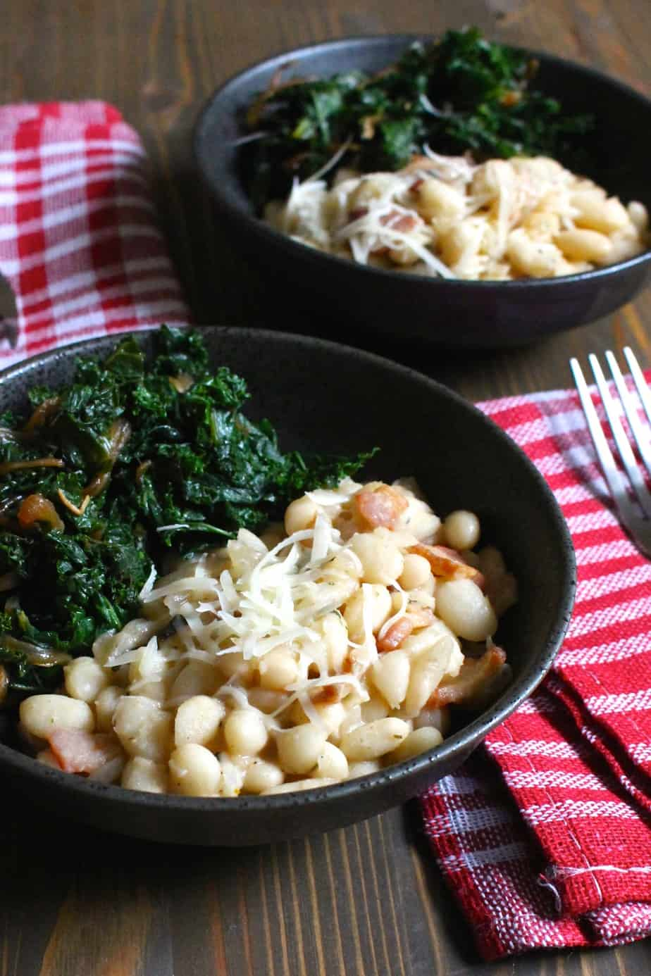 Creamy Italian White Beans with Bacon - serve with caramelized onions and kale | Frugal Nutrition