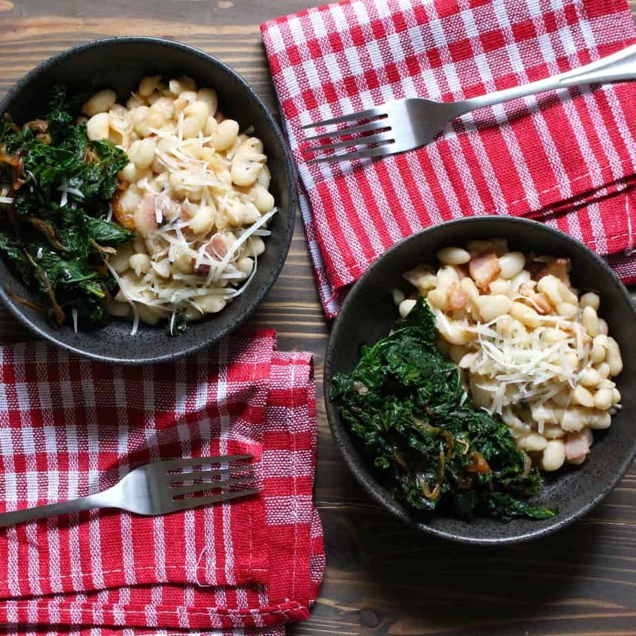 Easy Creamy Italian White Beans with Kale | frugalnutrition.com