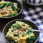 Creamy Spaghetti Squash with Sausage & Mustard Greens