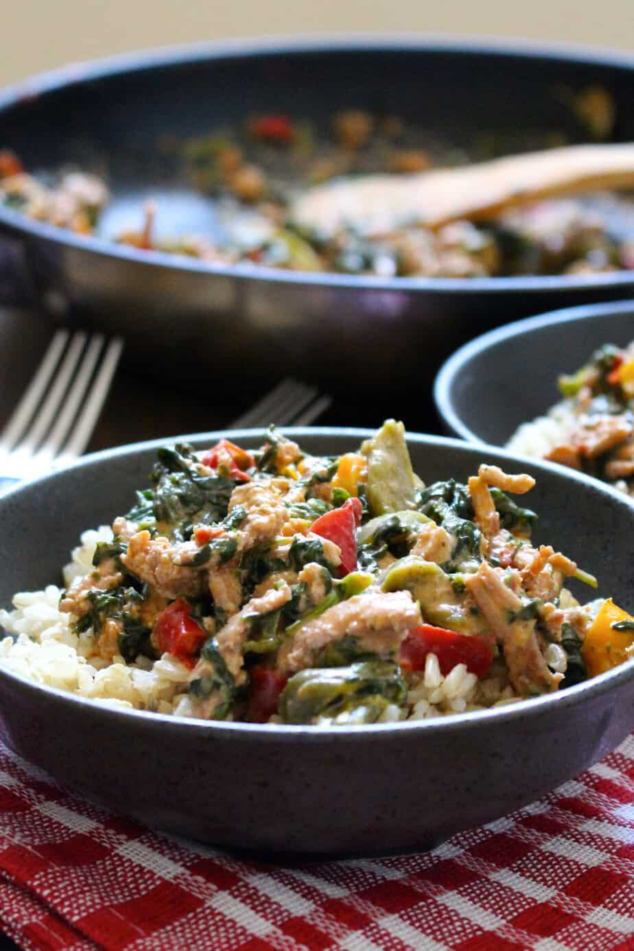 Easy One-Pan Coconut Ground Turkey with Peppers and Spinach by Frugal Nutrition