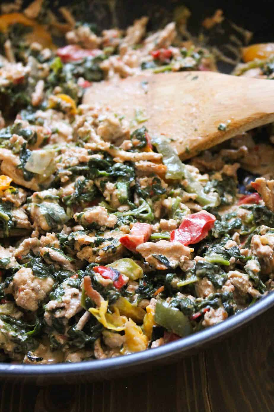 One-Pan Coconut Ground Turkey with Peppers and Spinach by frugalnutrition.com