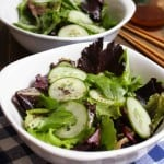 Simple Cucumber Sesame Oil Salad | FrugalNutrition.com SO DELICIOUS! Make this dressing ASAP.
