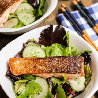 Simple Seared Salmon and Sesame Cucumber Salad | Frugal Nutrition