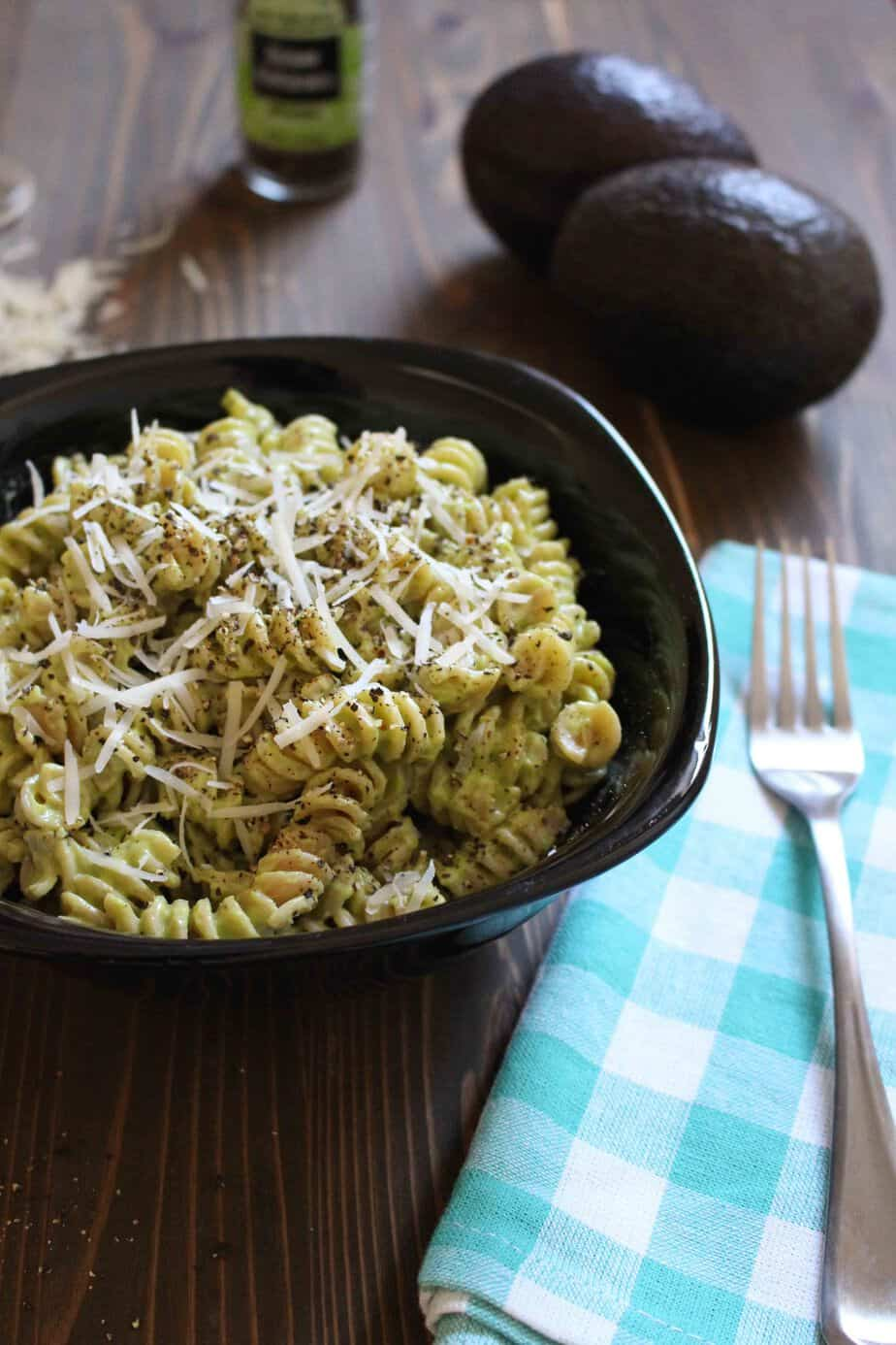 Avocado Alfredo Sauce with Whole Wheat Rotini - just parmesan, avocado, milk, and garlic | Frugal Nutrition