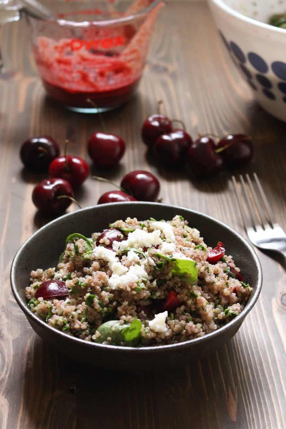 Awesome Cherry Balsamic Quinoa Salad with Spinach and Feta   Frugal Nutrition