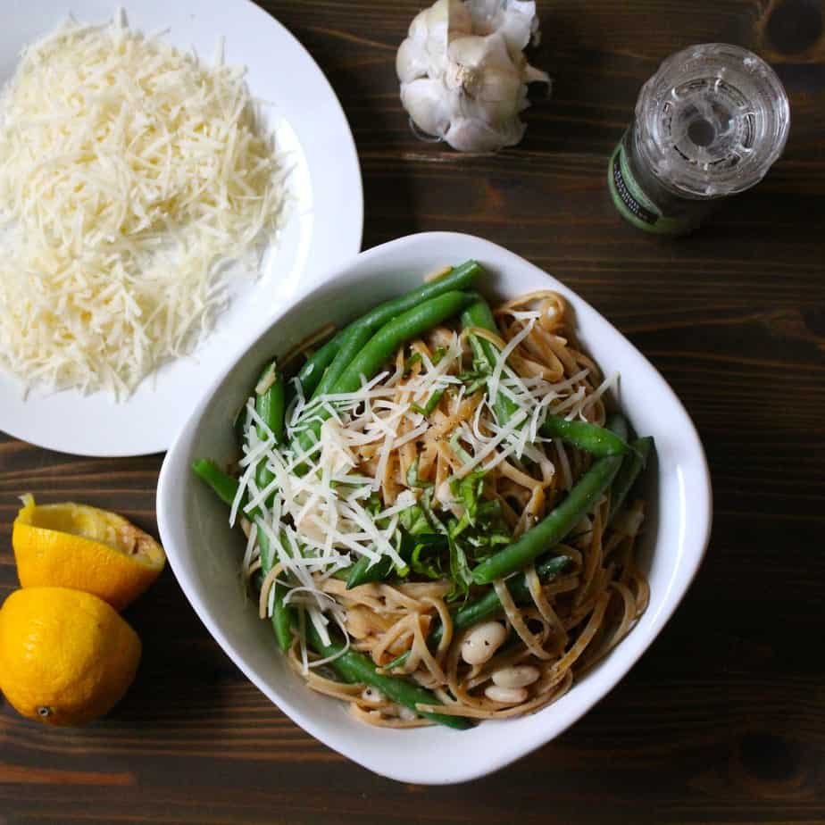 Easy Lemon Garlic Linguine Green Beans with Parmesan and Basil | Frugal Nutrition