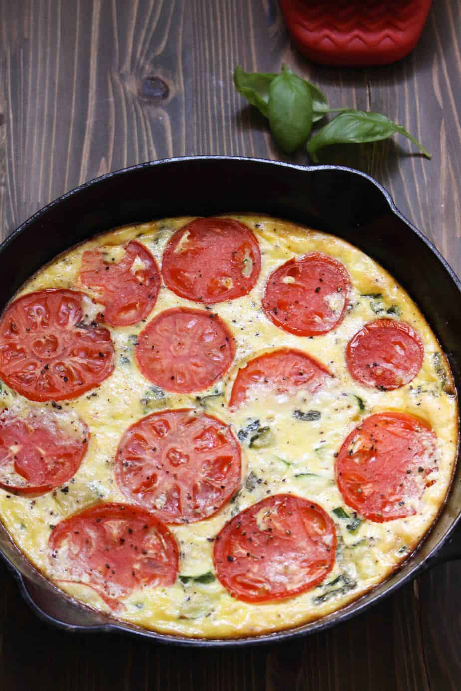 Summer Zucchini Tomato Frittata | FrugalNutrition.com #breakfast