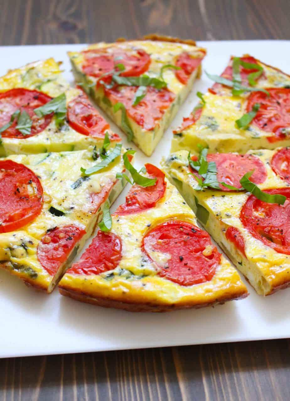 Zucchini Tomato Frittata - serves 6 | frugalnutrition.com