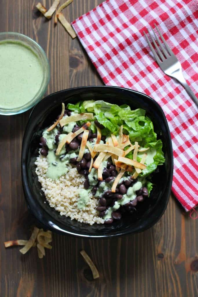 Easy Quinoa & Black Bean Salad with Creamy Cilantro Jalapeño Dressing | Frugal Nutrition