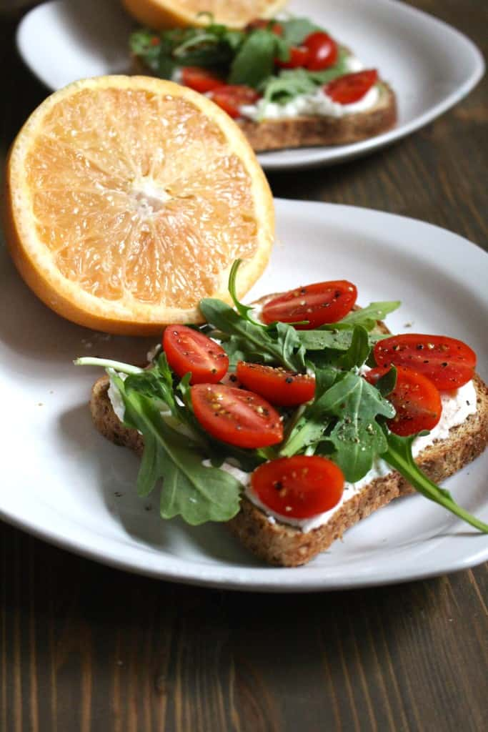 Easy Ricotta Toast with Arugula, Cherry Tomatoes, and Garlic | Frugal Nutrition