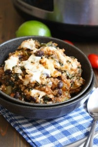Quinoa Enchilada Casserole with black beans, peppers, tomatoes, spinach, and queso fresco | Frugal Nutrition