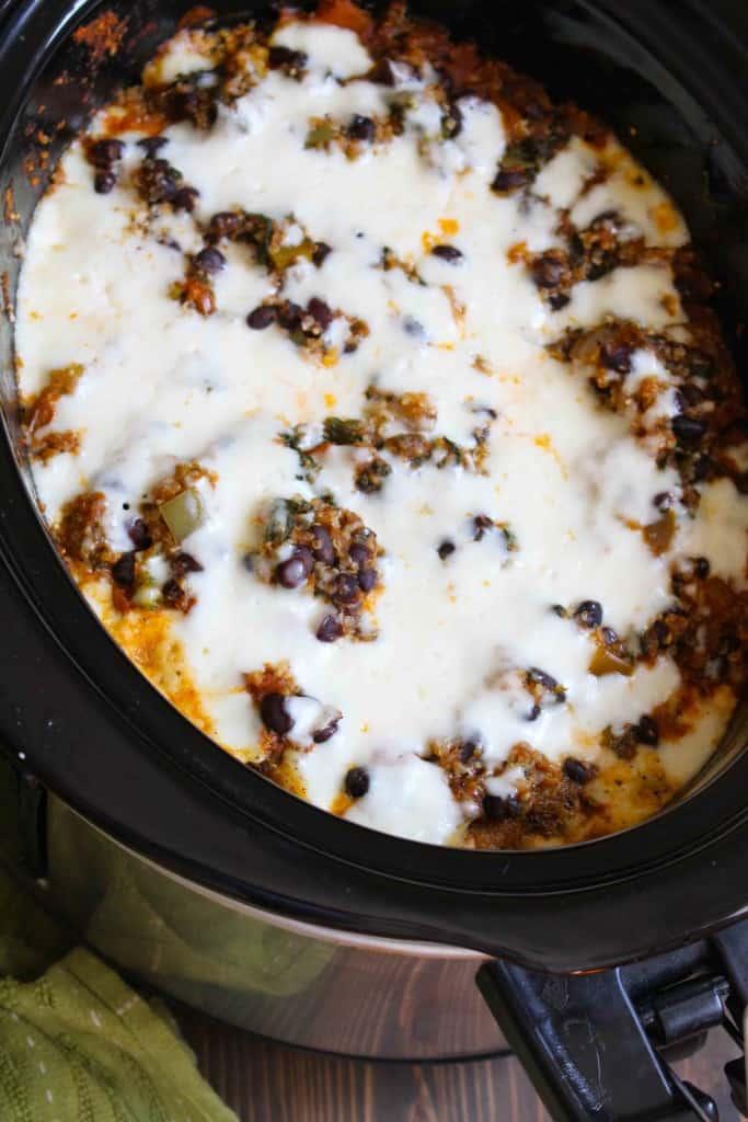 Slow Cooker Quinoa Enchilada Casserole | Frugal Nutrition #easyweeknightdinner