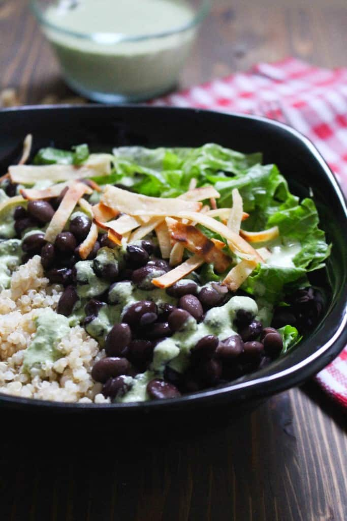 Weeknight Black Bean -Quinoa Salad with Cilantro Jalapeño Dressing | Frugal Nutrition