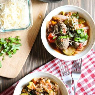 Garlic Basil Meatballs with Vegetable Slow Cooker Ratatouille | Frugal Nutrition