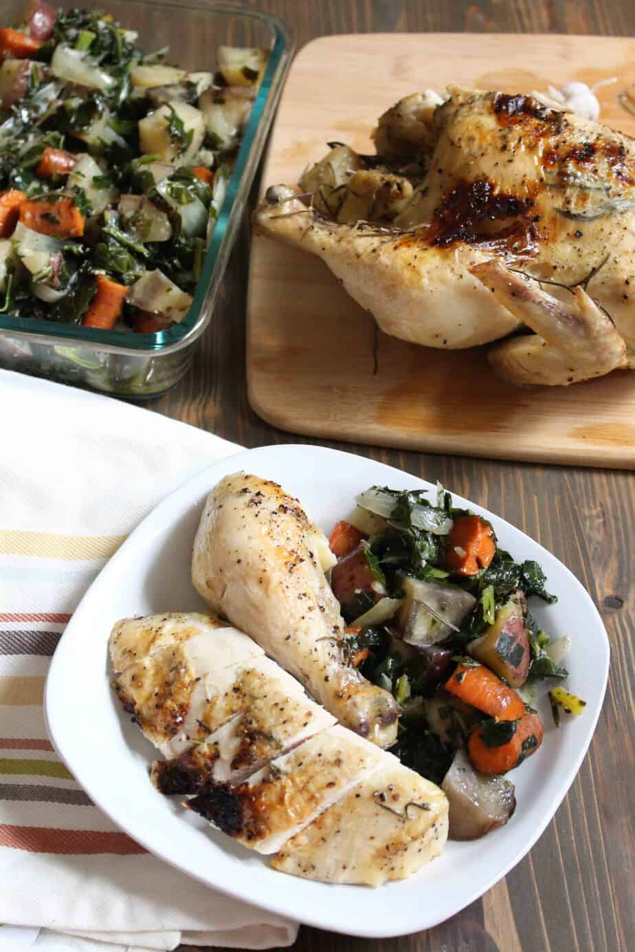 Slow Cooker Rosemary Chicken with Potatoes, Carrots, & Collards | Frugal Nutrition
