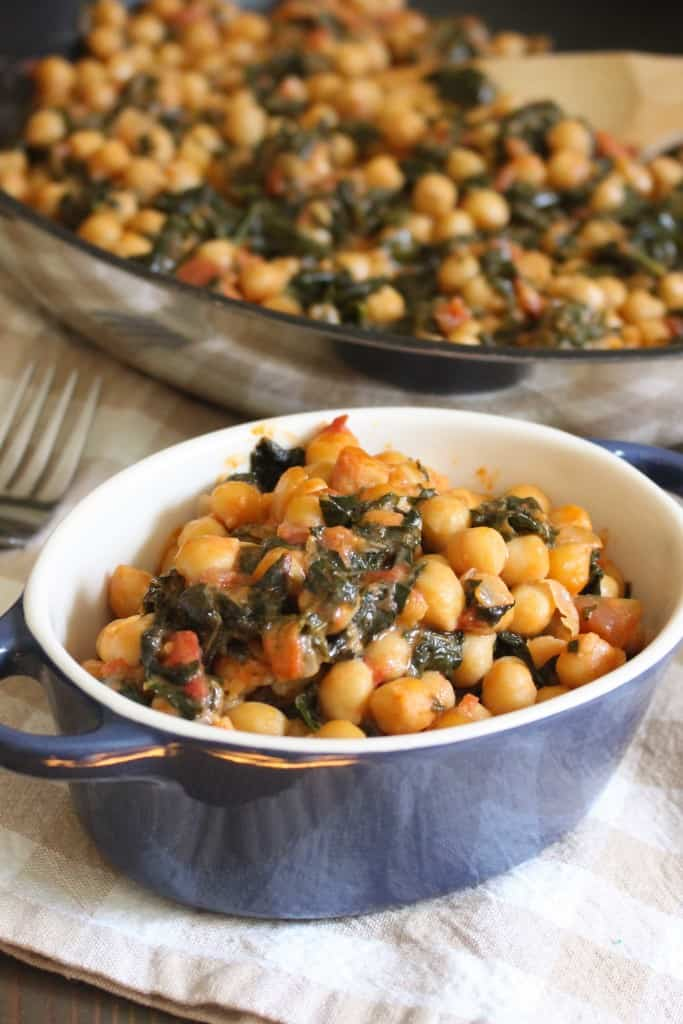 Easy 4 Ingredient Vegan Coconut Chickpeas with Kale and Tomatoes | Frugal Nutrition