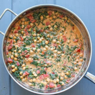 One Pot Coconut Chickpeas Tomatoes and Kale | Frugal Nutrition