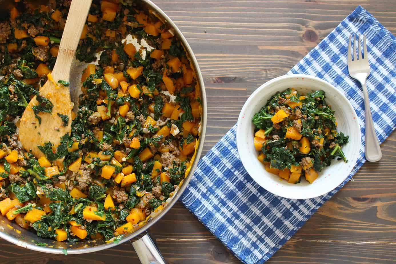 One Skillet Beef & Butternut Bowls with Kale | Frugal Nutrition