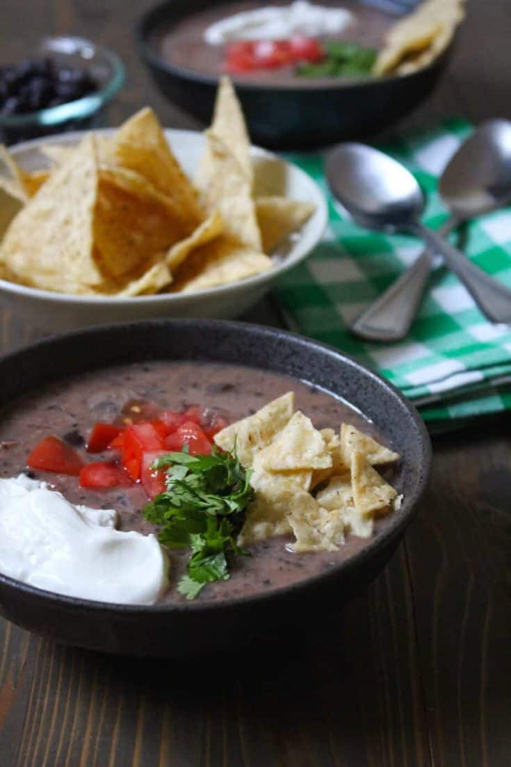 Easy Black Bean Soup (Stove Top or Slow Cooker)