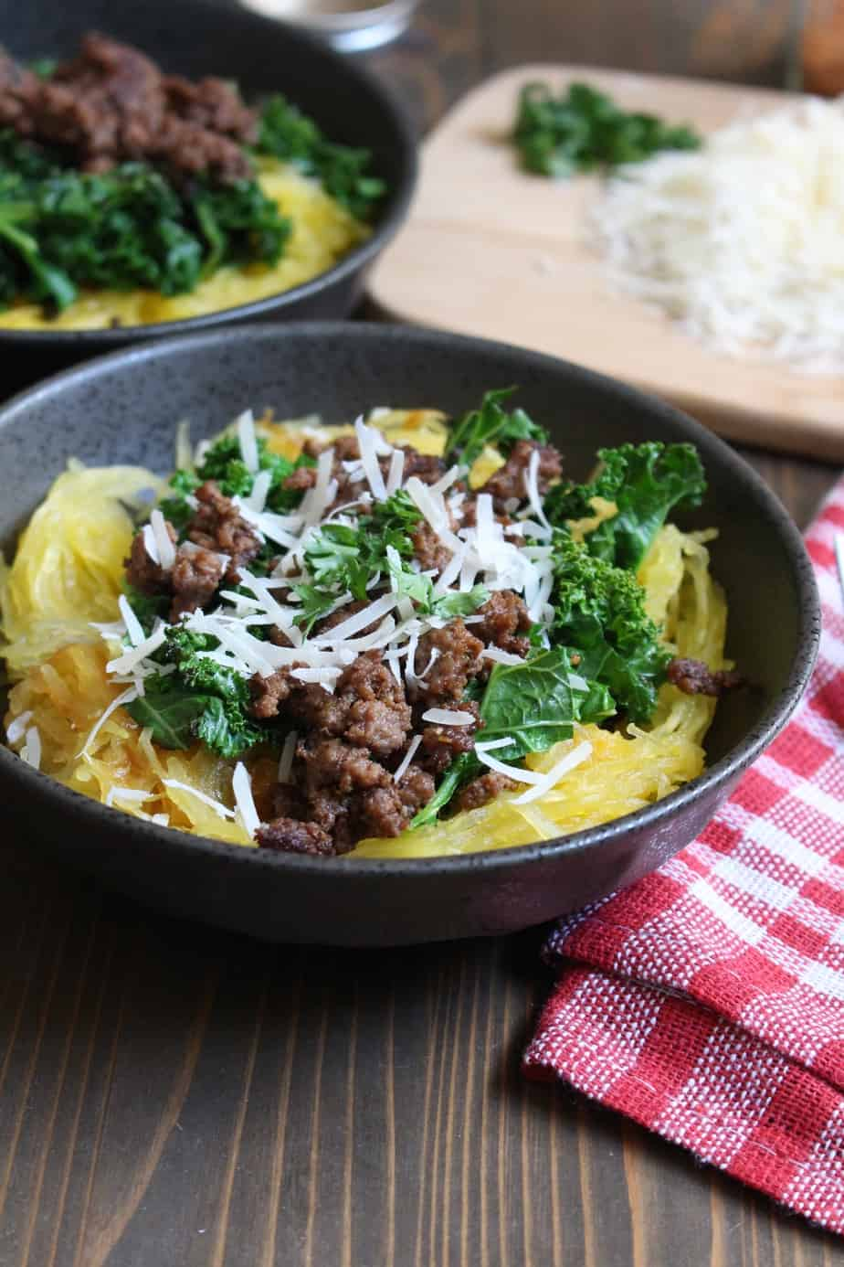 Spaghetti Squash Bowl with Ground Beef and Kale | Frugal Nutrition