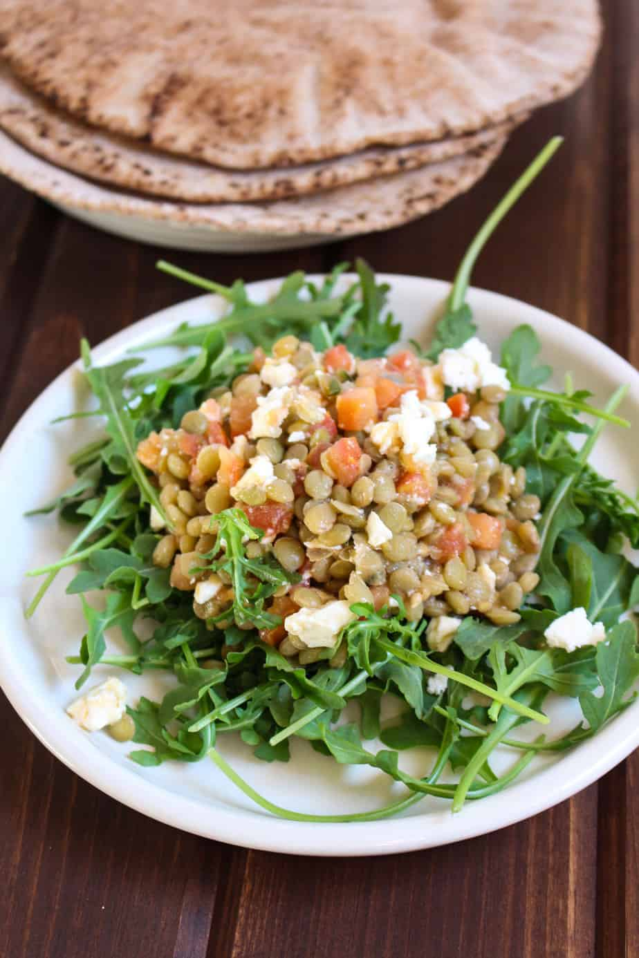 5-Ingredient Lentil Bruschetta Salad | Frugal Nutrition